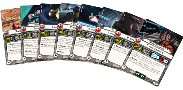 Star Wars Armada Rebel Starfighter Cards